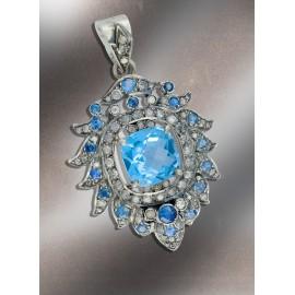Blue Topaz Pendant, Bridal pendnat